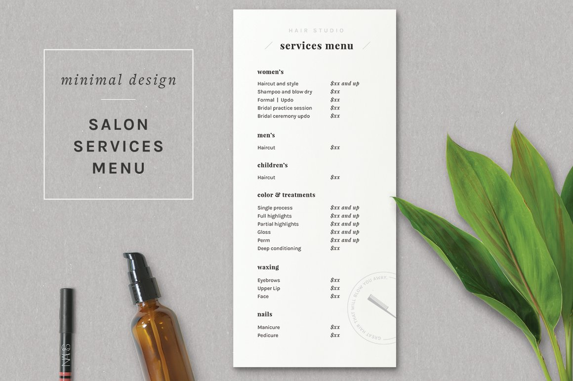 Modern salon price list template flyer templates creative market maxwellsz