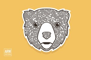 Woodcut Bear Head Logo