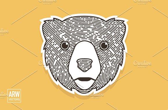 Woodcut Bear Head Logo