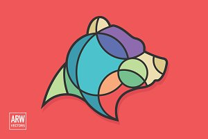 Colorful Bear Head Logo