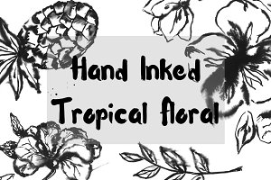 Hand Inked Tropical Floral