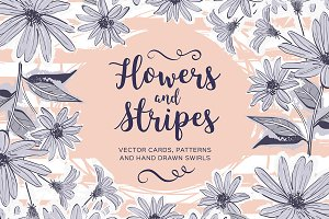 Flowers & stripes - Cards & Patterns