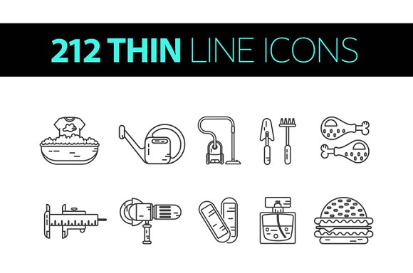 212 Vector Thin Line Icons