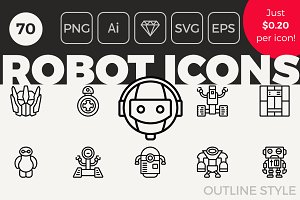 70 Robot Icons - Outline Style
