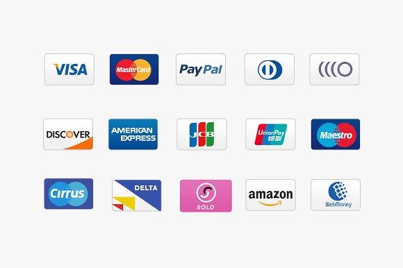 15 credit card icons icons creative market. Black Bedroom Furniture Sets. Home Design Ideas