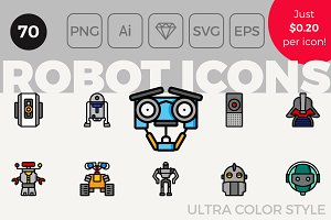 70 Robot Icons - Ultra Color Style