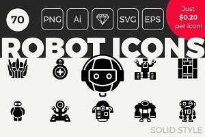 70 Robot Icons - Solid Style