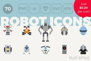 70 Robot Icons - Flat Style