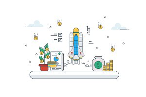 StartUp Concept. Vector illustration