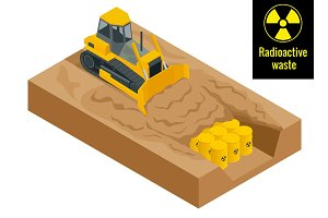 The tractor digs in drums with radioactive waste in yellow barrels. Radioactive danger concept. Flat 3d vector illustration. Environment protection.