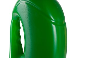green plastic bottle isolated on white background for liquid laundry detergent or cleaning agent or fabric softener