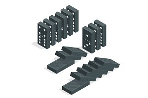 Domino effect. Full set of black isometric dominoes isolated on white. Flat vector illustration
