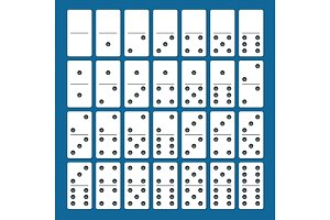 Full set of white dominoes with shadows on a blue background. Complete double-six set