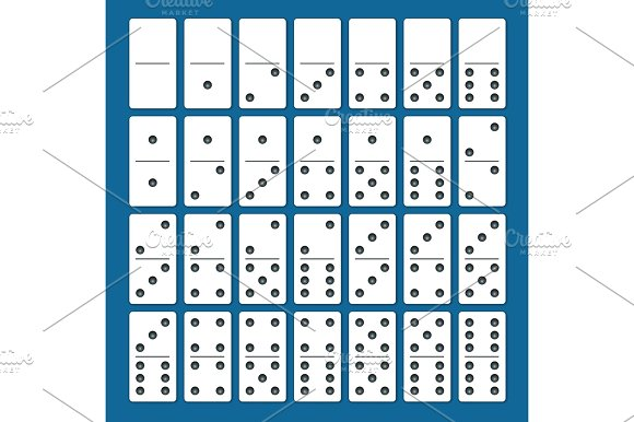 Full Set Of White Dominoes With Shadows On A Blue Background Complete Double-six Set