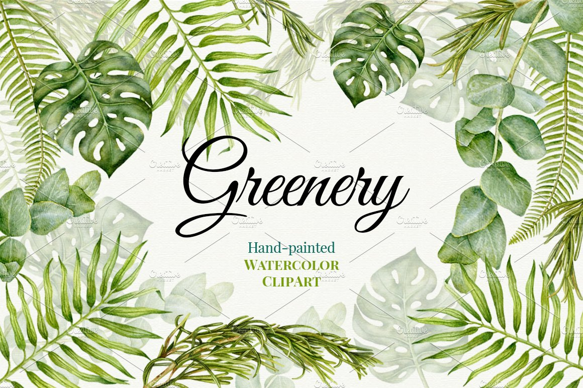 Wedding watercolor greenery illustrations creative market for Watercolor greenery