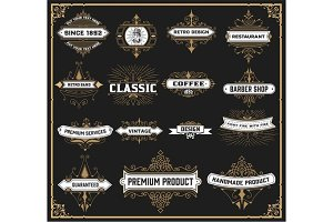 Vintage logos set