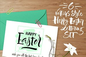 6 Happy Easter vector lettering set