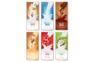 Labels of fruit in milk splashes