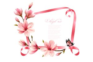 Pink magnolia and ribbon