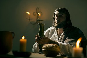 Jesus Christ blessing bread and wine