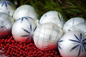 White and grey christmas balls