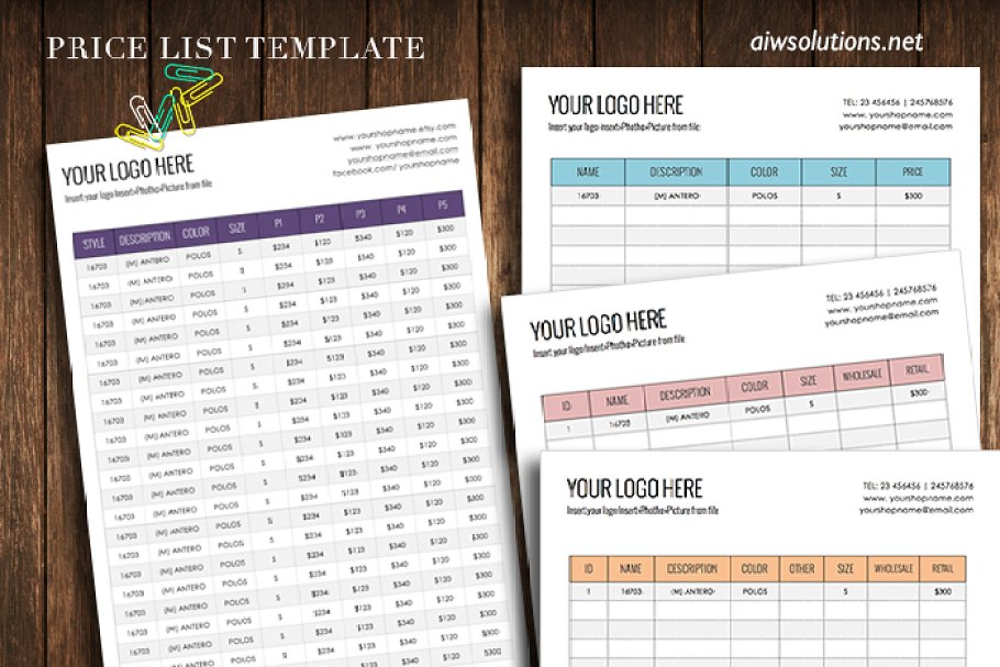 Wholesale Price Sheet Stationery Templates Creative Market