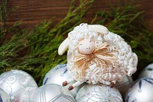 White christmas balls and cute sheep