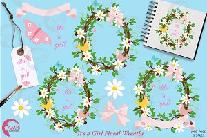 Floral Wreath Girl Baby Shower 1099