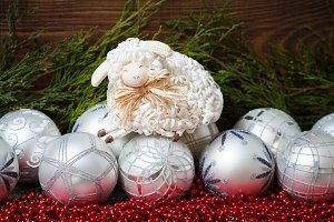 Christmas balls and cute sheep
