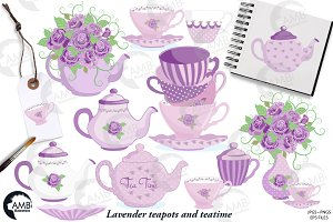 Lavender Tea Time Clipart AMB-1196