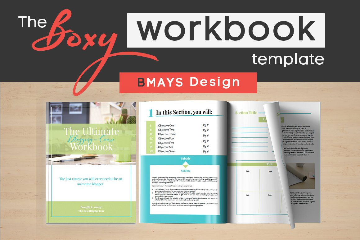 Boxy workbook layout template presentation templates for Workbook template indesign