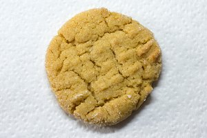 Peanut Butter Cookie on White Napkin