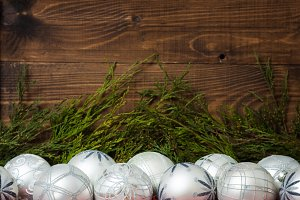 Christmas balls with fir and beads