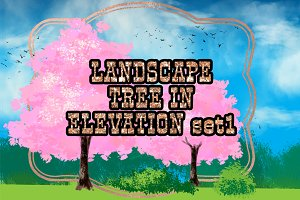 Landscape tree in elevation set 1