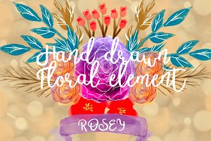 Rosey hand drawn watercolor floral