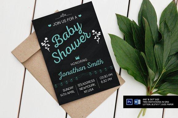 Chalkboard Baby Shower Invitation Templates Creative Market