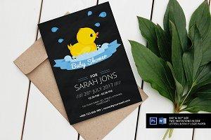 Chalkboard Rubber Duck Shower Invite