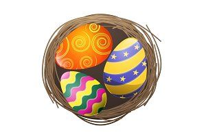 Colored Eggs in Bird Nest Isolated Illustration