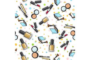 Seamless Pattern. Nail Polish. Powder. Lipstick.