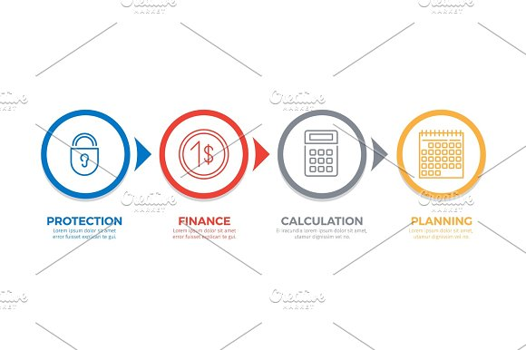 Sequence Of Business Processes Vector Concept