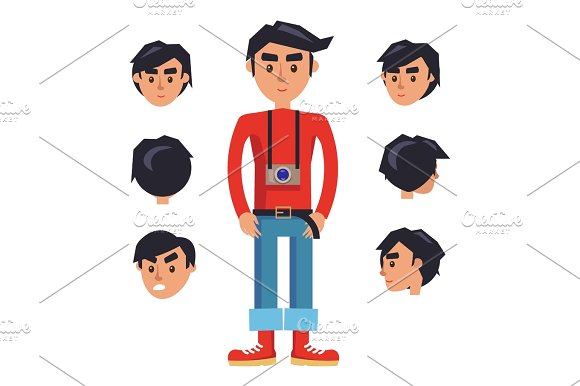 Young Hipster Man with Camera Cartoon Character