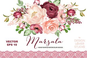 Vector watercolor Marsala design
