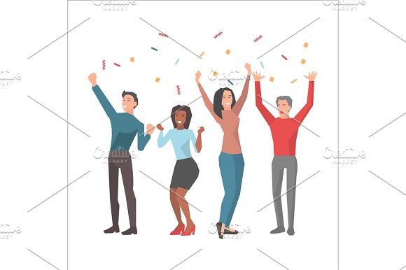 Team Celebrates Successful Startup Illustration
