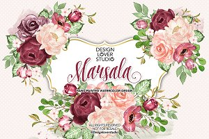 Watercolor Marsala design