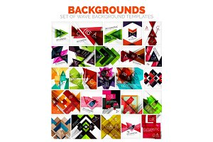 Vector set of triangle and arrow abstract backgrounds