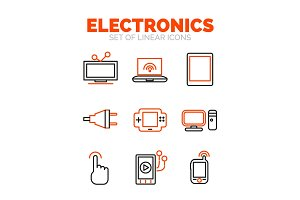 Set of devices and electronics icons, flat minimal linear thin style