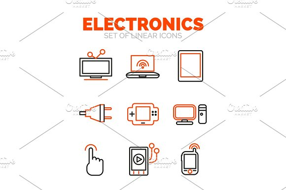 Set Of Devices And Electronics Icons Flat Minimal Linear Thin Style