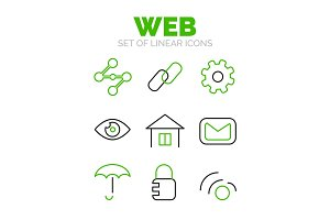 Set of universal web icons, flat minimal linear thin style