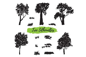 №243 Silhouettes of trees and herbs