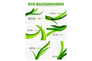 Collection of vector nature green eco abstract backgrounds